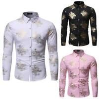 Mens Shirt Blouse Floral Stylish Dress Shirts Top Luxury Long Sleeve Slim Fit