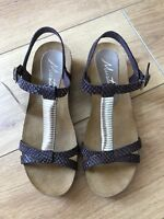 BRAND NEW MUSTANG ladies sandals in brown snakeskin print leather, UK SIZE 5/38