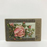 """Victorian Trading Card New Year Greeting Pink Rose Bloom Flower 4-3/8"""" x 2.75"""""""