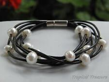 White Baroque Freshwater Pearl & Leather Bracelet