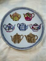 "VINTAGE ORIENTAL ACCENT CHINESE PORCELAIN  10"" PLATE W/ TEAPOT  A718"