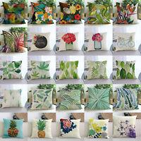 Vintage Flower/Leaf Linen Pillow Case Sofa Waist Throw Cushion Cover Home Decor