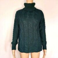 Loft Womens Sweater Size XXL Green Chunky Cable Knit Turtleneck Wool Blend New