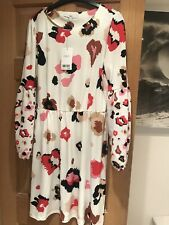 Next Dress Cream Floral Long Sleeves Uk 12 New