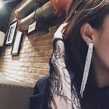 Bridal Long Silver Tassel Dangle Earrings Sparkling Rhinestone Crystal Jewelry