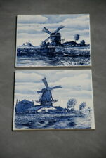 Delft Blue Villeroy & Boch Hand Painted in Holland Tile Windmills Two