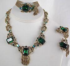 Vintage Designer Parure Necklace Bracelet & Earrings Antique Gold & Deep Emerald