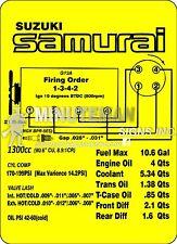 Suzuki Samurai 4WD Instruction Card Replica G13A Spec Card Outdoor Grade