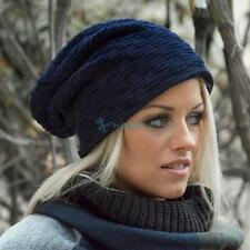Men Women Winter Warm Fleece Lined Slouch Cap Beanie Baggy Cap Crochet Knit Hat