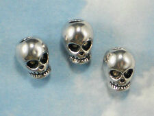 5 Big Hole Skull Beads 3D Antiqued Silver Tone Fits Large Cord or Leather #P1258