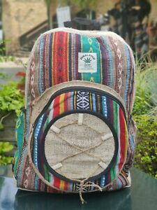 Hemp Bagpack  colorful bhutani joot string Handmade organic sustainable bagpack