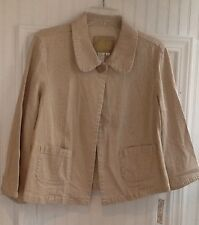Live a Little Seersucker Look Denim Jacket Brown Pinstripe  NWT Size Large