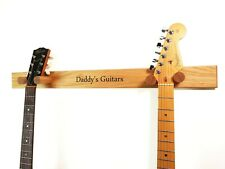 More details for solid oak double guitar hanger, personalised. engrave your own message. free p&p