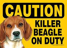 Killer Beagle On Duty Dog Sign Magnet Hook & Loop Fastener 5x7