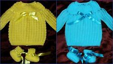 LAYETTE  2 brassieres bébé naissance fait main & chaussons jaune turquoise