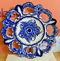 Ceramic-Portugal Vestal Alcobaca-Hand Painted-Blue & White Wall Plate-Vintage-1