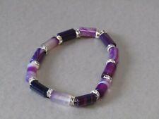 Purple Agate Tube & Diamante Crystal Beaded Stretchy Bracelet. Very Nice!!