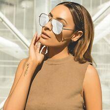 NEW QUAY X Desi High Key Silver/Silver Mirror Sunglasses