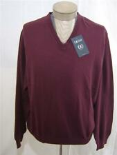 IZOD Mens 100% Cotton Sweater 2XL XXL V-Neck Knit Pullover Long Sleeve Brick RED
