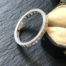 Bright Antique Edwardian Diamond Full Eternity Platinum Band Ring