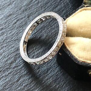 Bright Antique Edwardian Diamond Full Eternity Platinum Band Ring