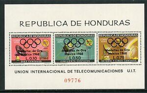 Honduras note after Scott #C463 MNH S/S OVPT Gold Medal OLYMPICS on ITU CV$6+