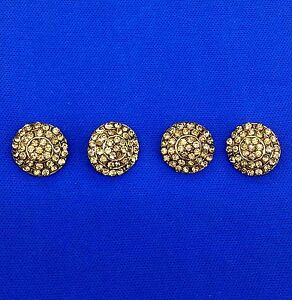 Antique Gold Metal Buttons Dome Shank Buttons Bling Fashion Sewing Craft by 4 pc
