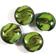 Lot de 4 perles en verres Lampwork Murano Galets 20mm Vert