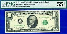 "*FR-2018-F 1969 $10 FRN (( 00003400 STAR )) ""Fancy Serial""  PMG Abount-UNC 55EPQ"