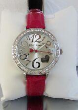 Betsey Johnson Crystal Bezel Watch Fuchsia Glitter BJ00596-05 NWT
