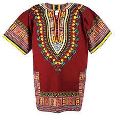 Plus Size African Dashiki Cotton Mexican Hippie Tribal Boho Shirt Brown ad18b