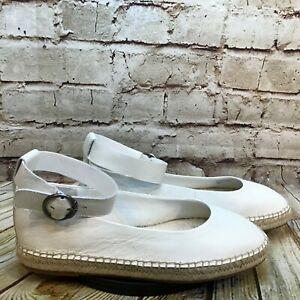 Splendid White Leather Jute Trim Adjustable Ankle Strap Slip On Flats Size 9 M