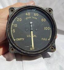 WW2 USN USMC Grumman F4F Wildcat Fighter Fuel Gauge Indicator Instrument, NICE!