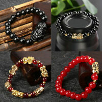 Natural Black Agate Beads Pi Yao Pi xiu Bracelet for-Wealth Luck Feng Shui Gift