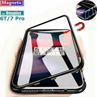For OnePlus 7 Pro 6T/6 360° Magnetic Metal Double Tempered Glass Case Full Cover