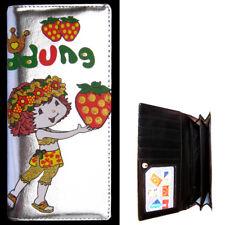 Porte monnaie portefeuille pour fille argenté fraises manga fleur paillettes