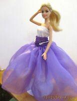 Barbie Long golden blonde Hair White dress purple long skirt & mauve high heels