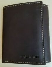 Men's Brown Genuine Leather Trifold Wallet Boxed with Dust Cover