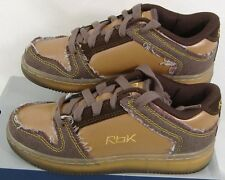New Reebok Boys 3 Metro Plus Brown Leather Low Basketball Leather Shoes