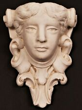 Heavy Vintage Architectural Figural Maiden's Head Wall Hanging Plaster Planter