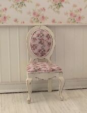 Dollhouse Miniature Shabby Chic Round Side Chair with Pink Floral Print Fabric