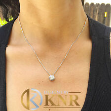 14k White Gold Round Cut Diamond Bezel Set Solitaire Necklace And Chain 0.30ct