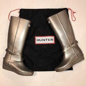 Hunter Women's Size 8 Rain Boots Andora Silver Wedge