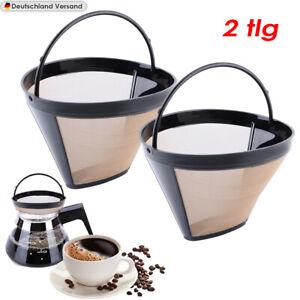 2tlg Edelstahl Kaffeefilter Wiederverwendbar Umweltfreundlich Kaffee Dauerfilter