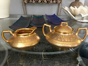 Vintage Luxe Gold Encrusted Decorated Porcelain Sugar & Creamer XLNT Gorgeous!!