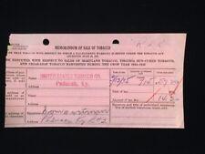 1935 MEMORANDUM OF SALE OF TOBACCO PADUCAH KY #RJ2, 3, 7, AND 9