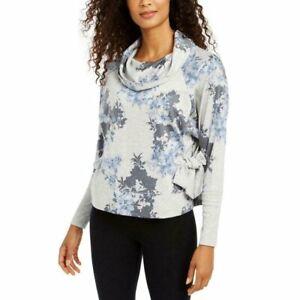 IDEOLOGY long sleeve cowl neck side-tie botanic print women's top - Floral - MED