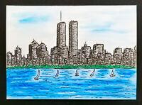 """TWIN TOWERS"" Original Painting MIKOL MERLIN New York City NY Manhattan Skyline"