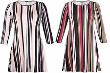 Round Neck Short Sleeve Casual Striped Dresses for Women