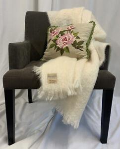 Vintage Saks Fifth Avenue 100% Mohair Made In Scotland Cream Throw Blanket 74x48